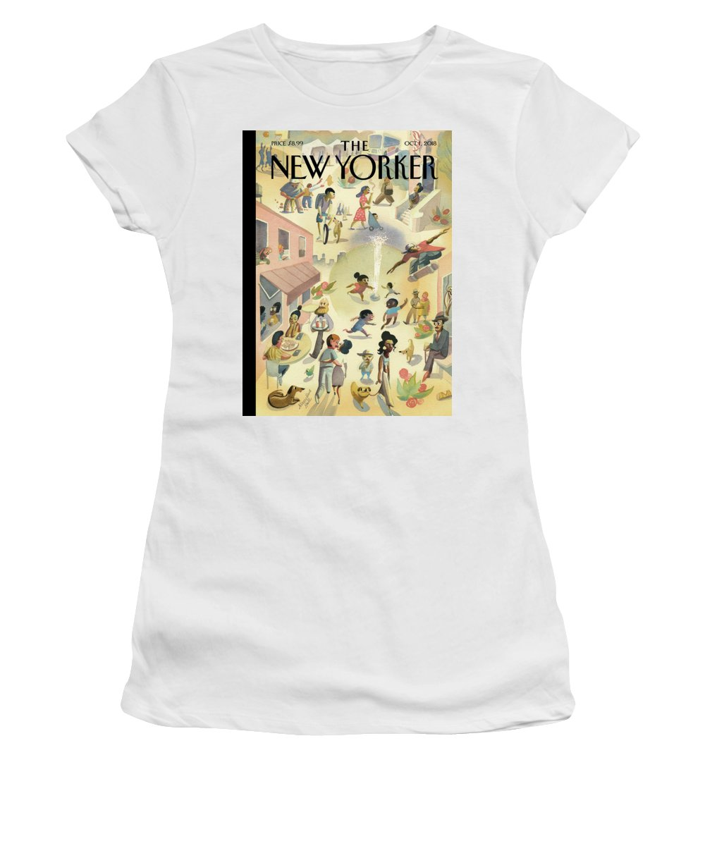 Lower East Side Women's T-Shirt featuring the painting Lower East Side by Marcellus Hall