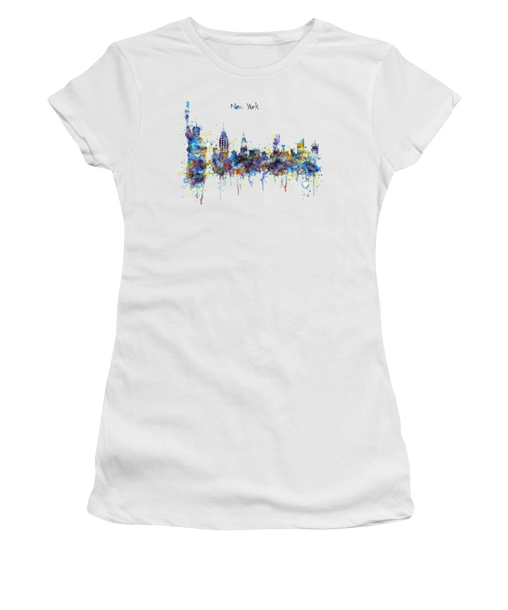 New York Women's T-Shirt featuring the painting New York Watercolor Skyline by Marian Voicu