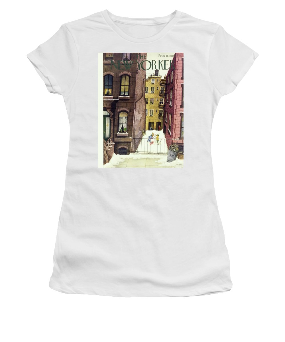Illustration Women's T-Shirt featuring the painting New Yorker February 2, 1946 by Edna Eicke
