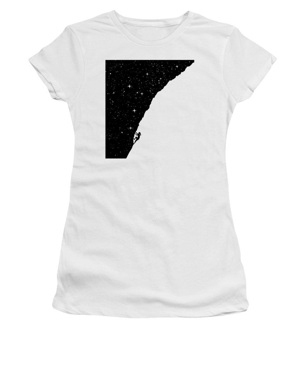 Night Women's T-Shirt featuring the mixed media Night Climbing by Balazs Solti