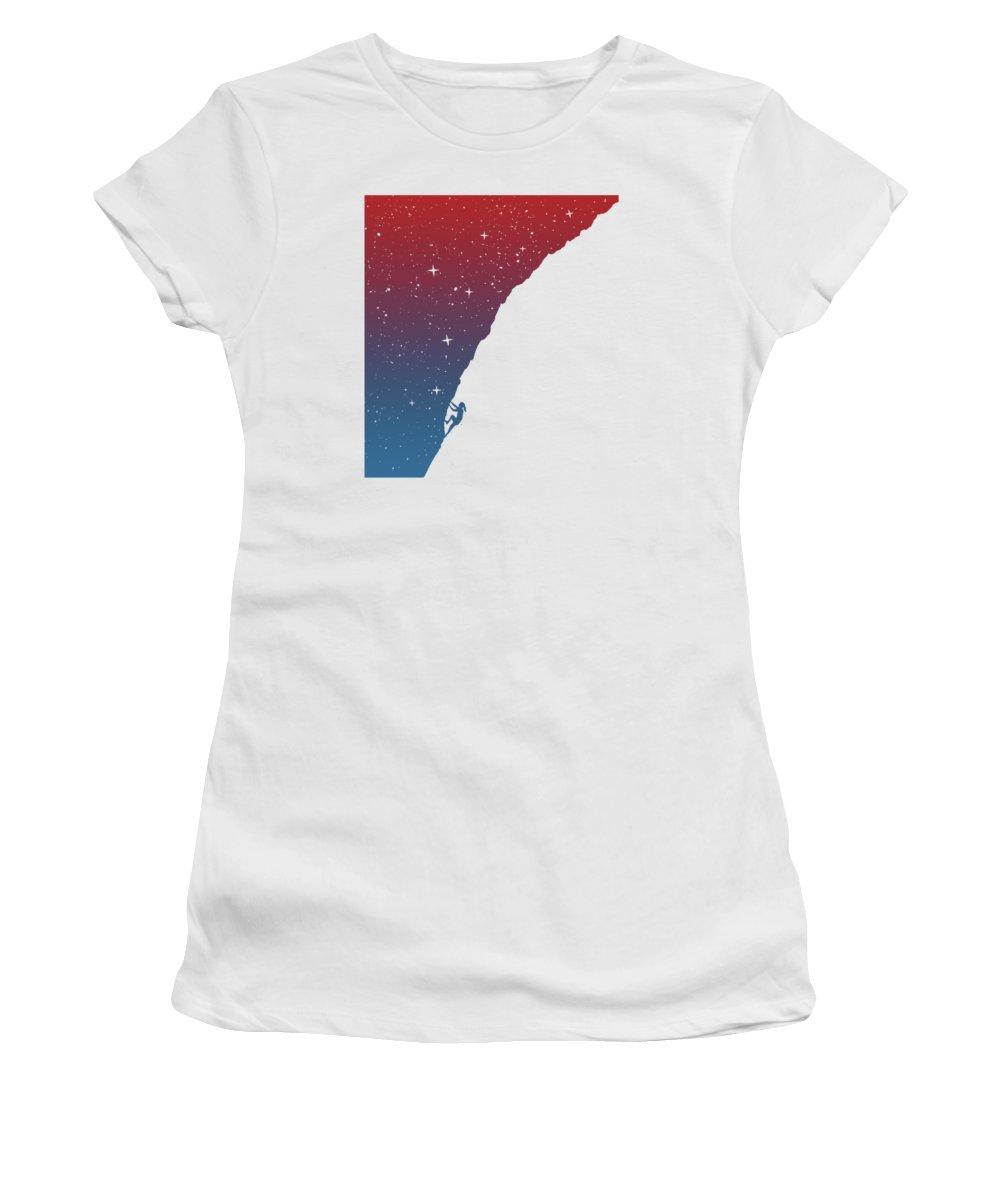 Girl Women's T-Shirt featuring the mixed media Night Climbing II by Balazs Solti