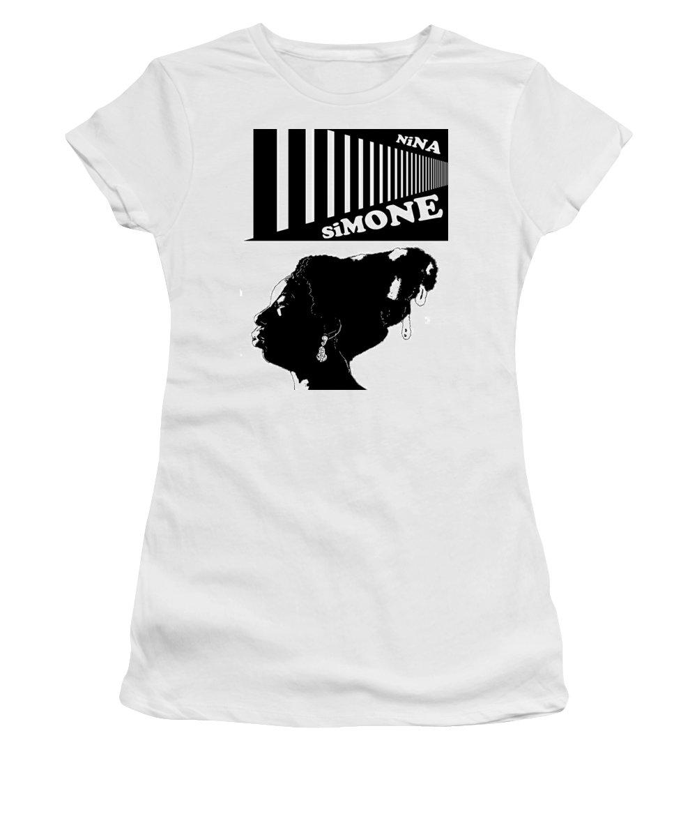 Black And White Print Women's T-Shirt featuring the digital art Nina Simone - White by Regina Wyatt