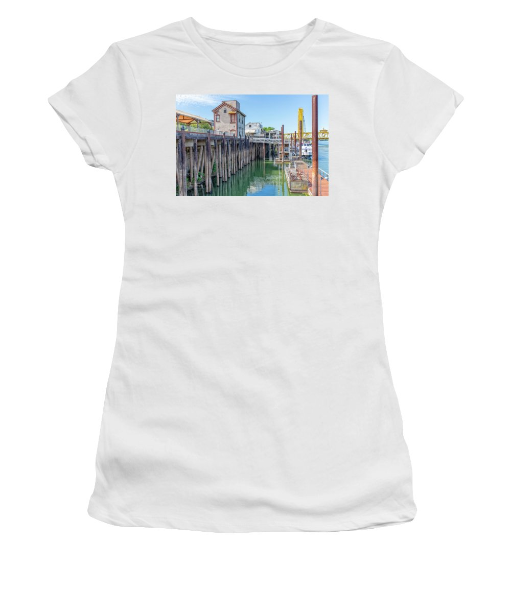 Old Town Sacramento Women's T-Shirt featuring the photograph Old Sacramento Waterfront by Jim Thompson