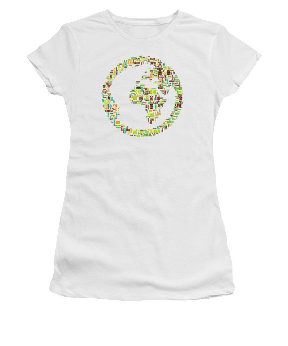 One Planet Women's T-Shirt featuring the digital art One Planet by Susan Maxwell Schmidt