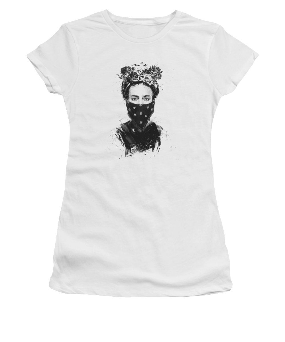 Girl Women's T-Shirt featuring the drawing Rebel Girl by Balazs Solti