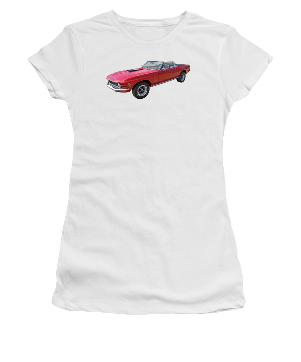 Ford Mustang Women's T-Shirt featuring the photograph Red 1970 Mach 1 Mustang 351 Cleveland by Gill Billington