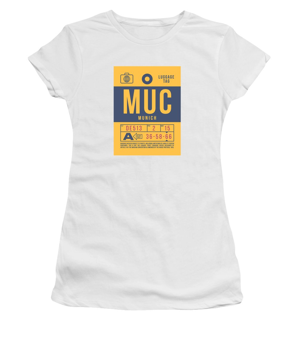 Airline Women's T-Shirt featuring the digital art Retro Airline Luggage Tag 2.0 - Muc Munich International Airport Germany by Ivan Krpan