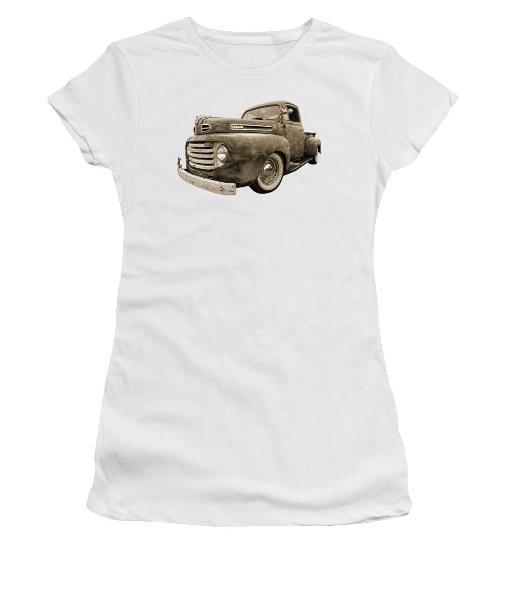 Ford Truck Women's T-Shirt featuring the photograph Rusty Jewel In Sepia - 1948 Ford by Gill Billington