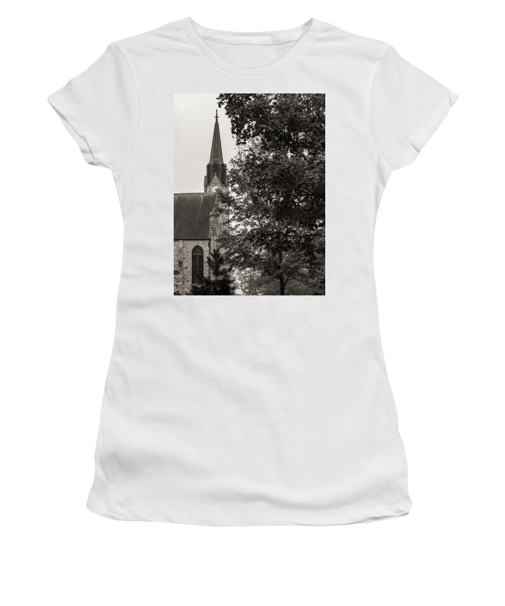 Stone Women's T-Shirt featuring the photograph Stone Chapel - Black And White by Allin Sorenson