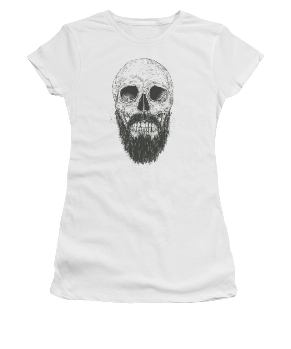 Skull Women's T-Shirt featuring the drawing The Beard Is Not Dead by Balazs Solti