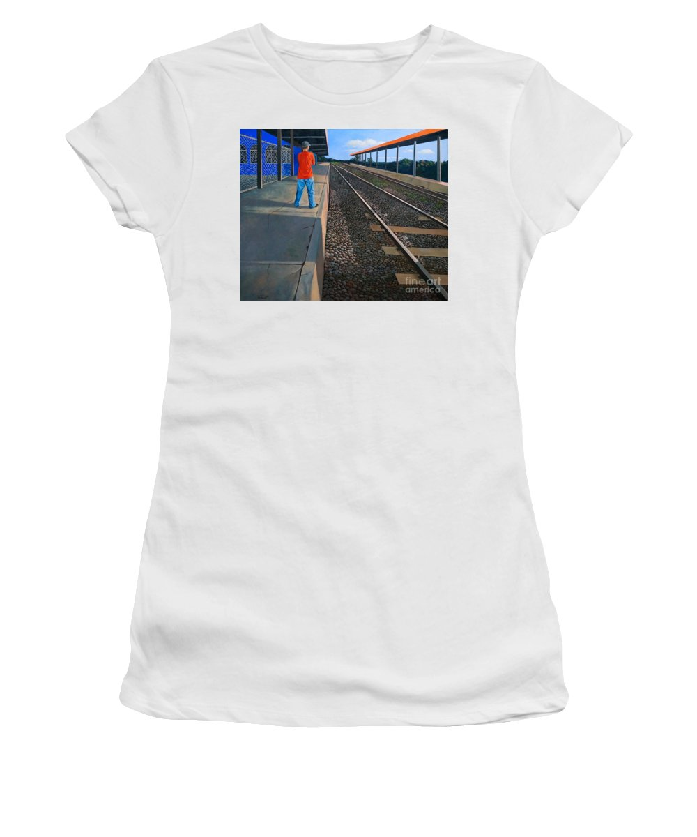 Railroad Women's T-Shirt featuring the painting The Distance Of Solitude by Christopher Shellhammer