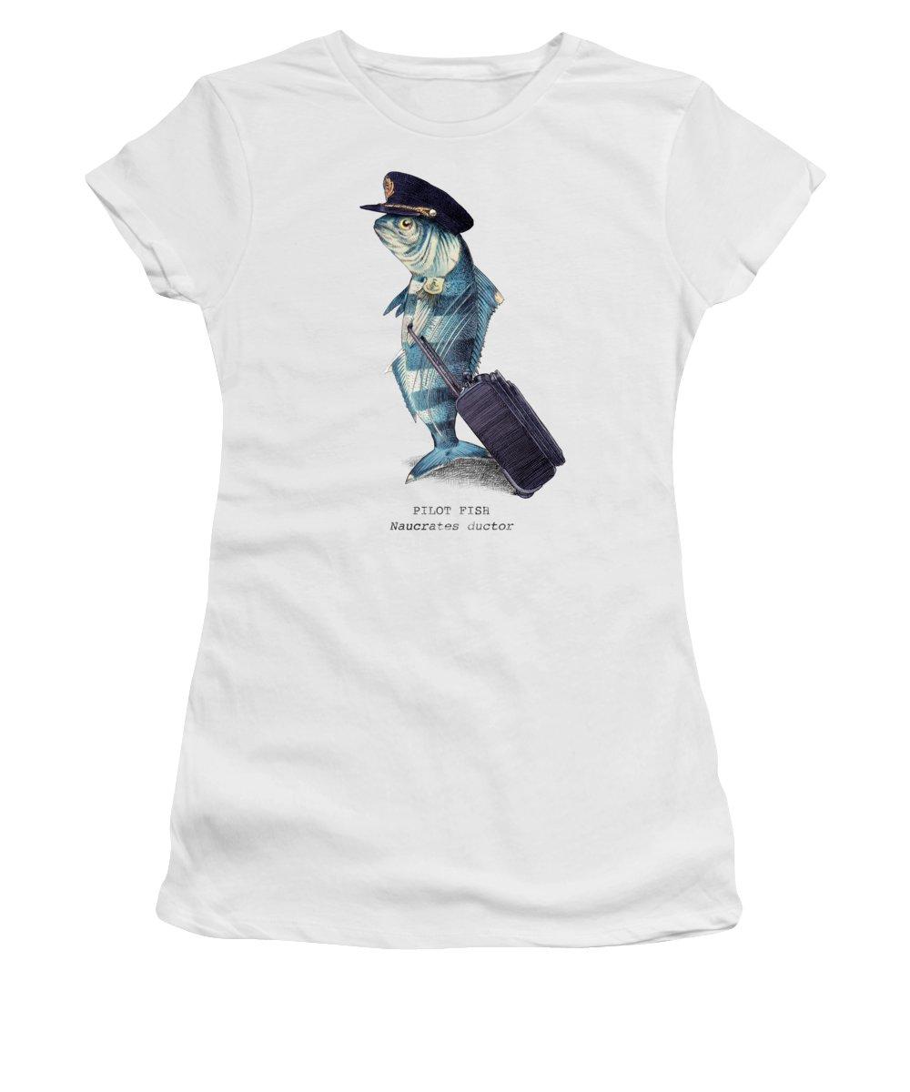 Pilot Women's T-Shirt featuring the digital art The Pilot by Eric Fan