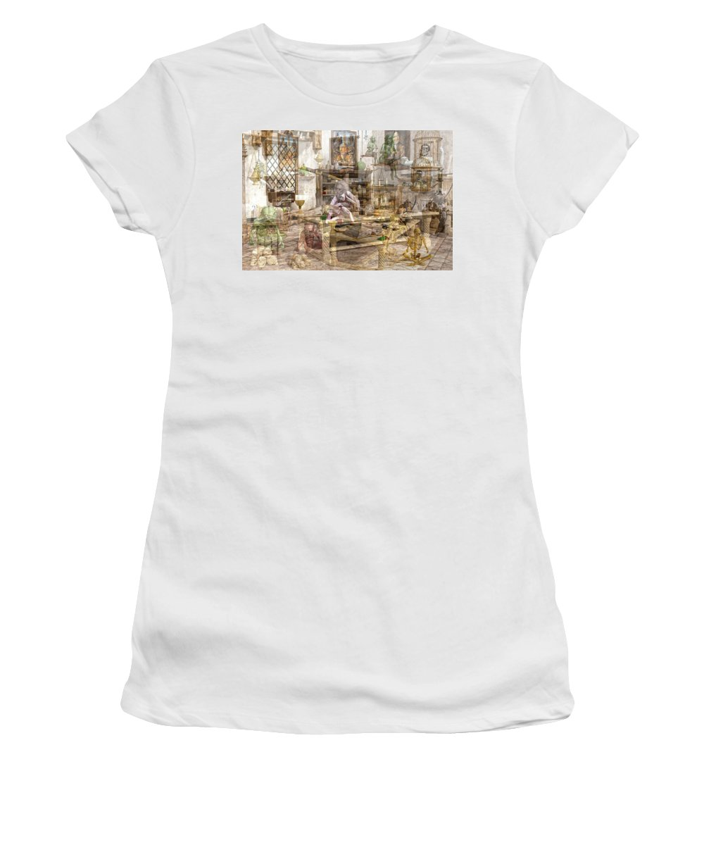 Wizard Women's T-Shirt featuring the digital art The Reality Question by Betsy Knapp