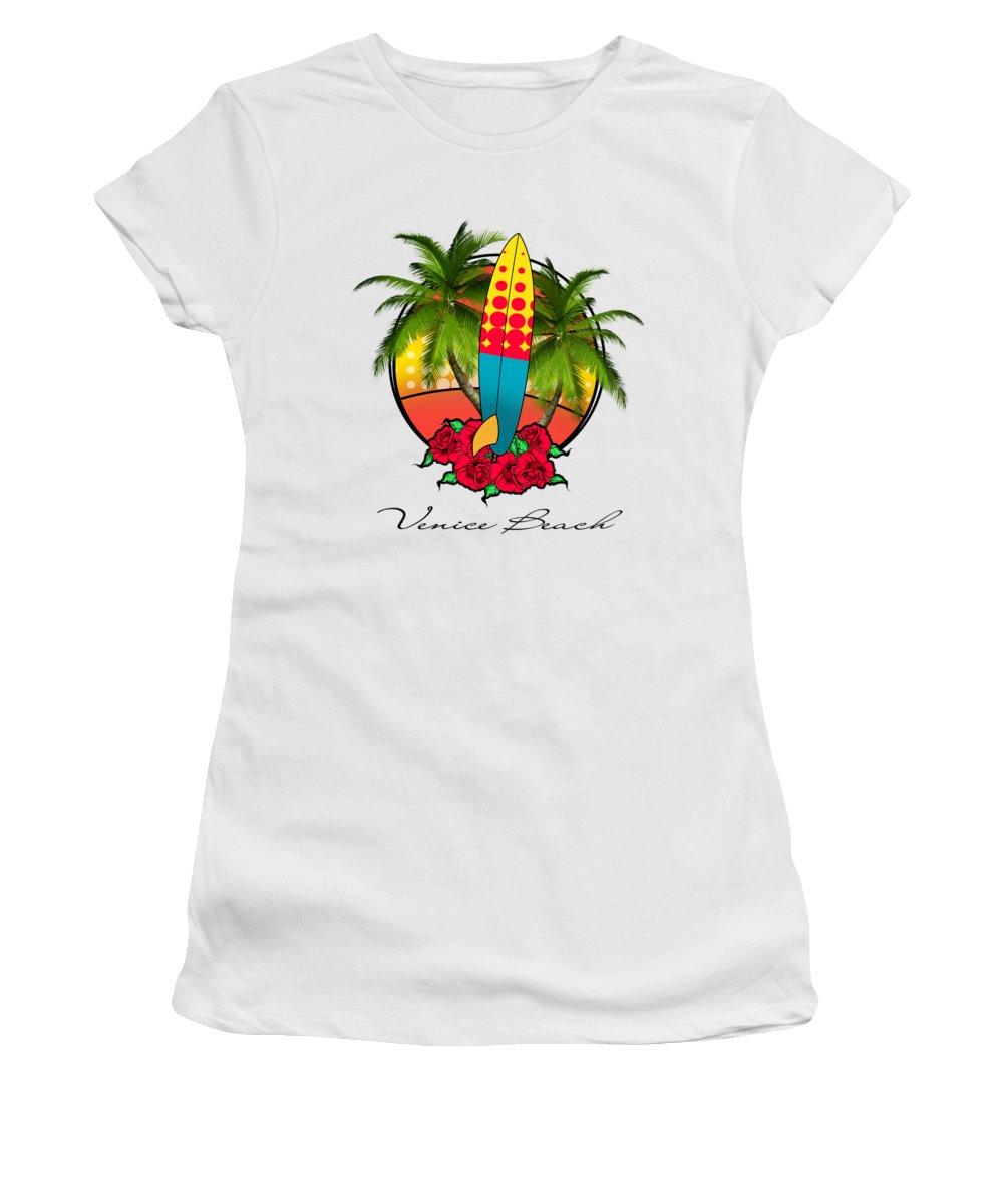 Venice Beach Women's T-Shirt featuring the digital art Venice Beach by Mark Ashkenazi