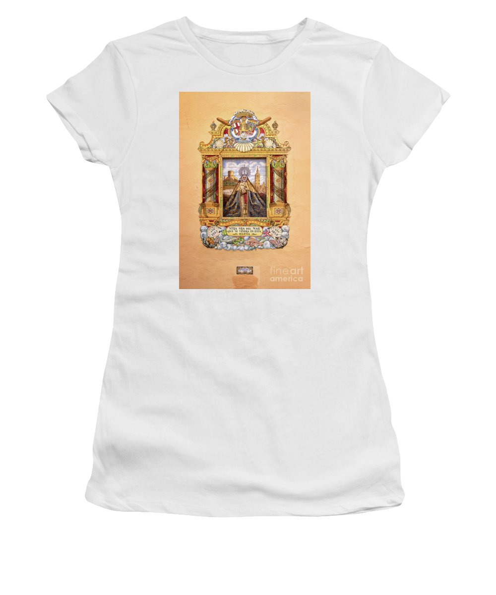 Virgin Women's T-Shirt featuring the photograph Virgin Mary Ceramic In Seville by Delphimages Photo Creations