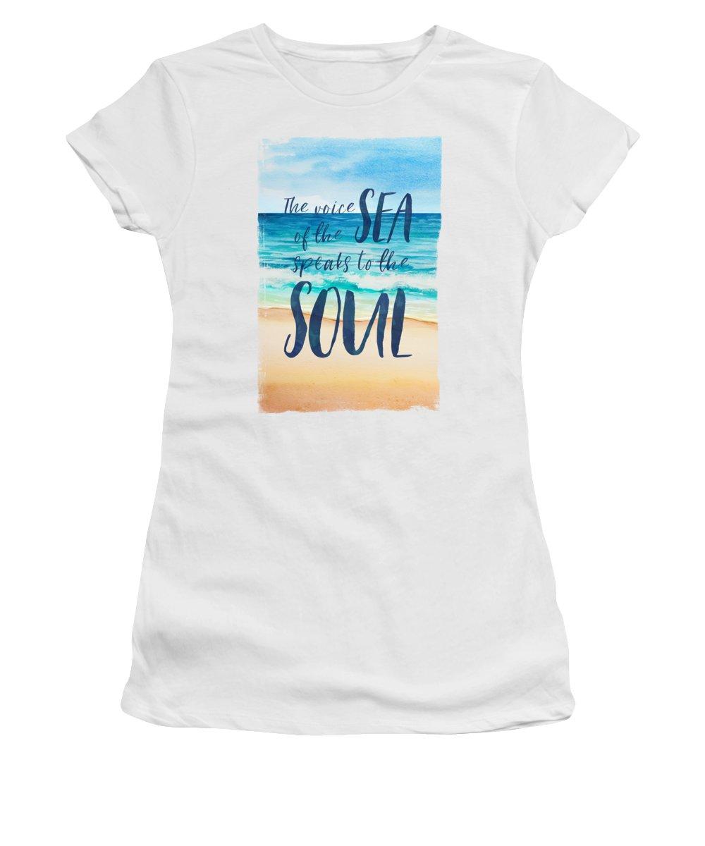 Amanda Lakey Women's T-Shirt featuring the mixed media Voice Of The Sea by Amanda Lakey