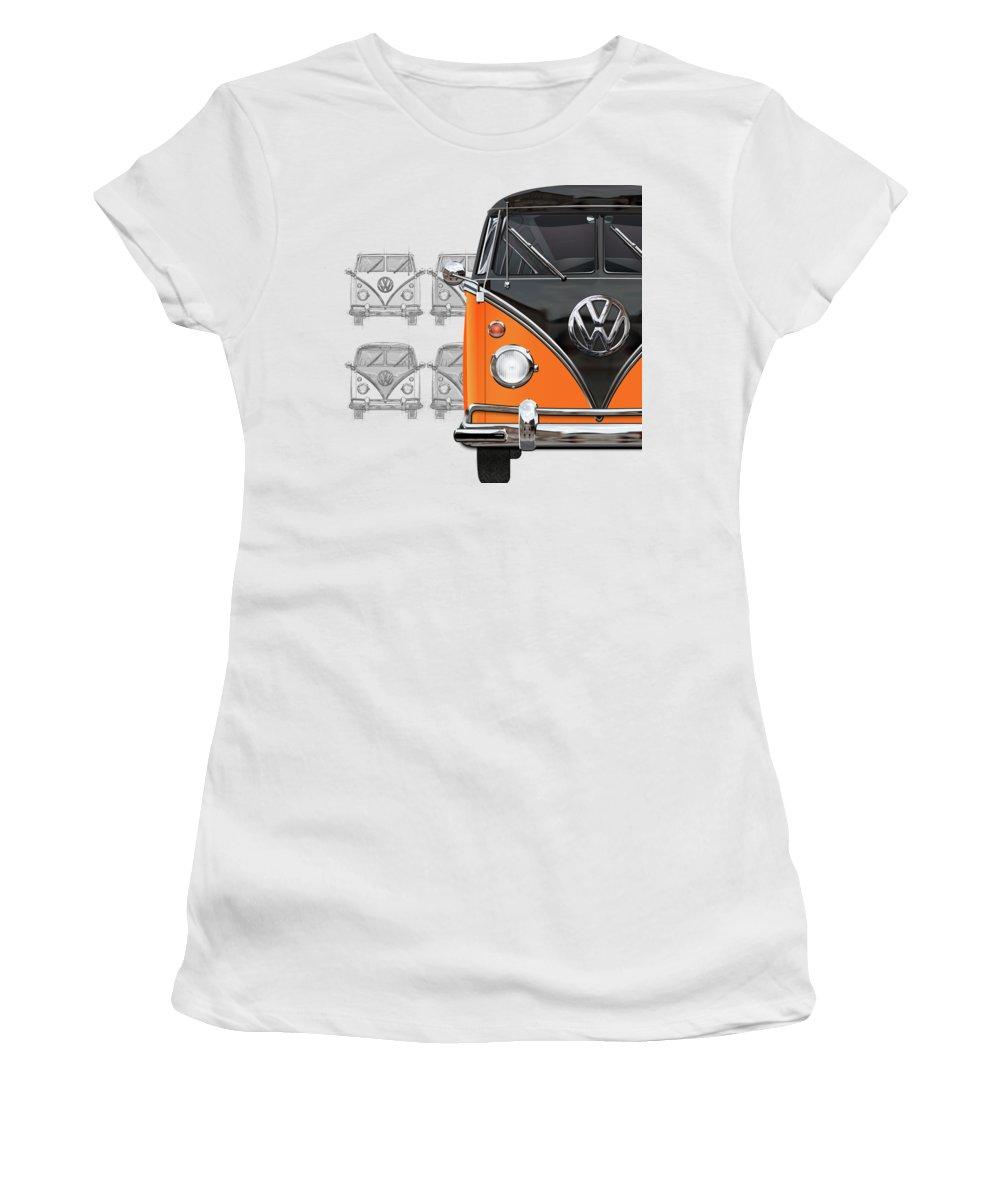 'volkswagen Type 2' Collection By Serge Averbukh Women's T-Shirt featuring the digital art Volkswagen Type 2 - Black and Orange Volkswagen T1 Samba Bus over Vintage Sketch by Serge Averbukh