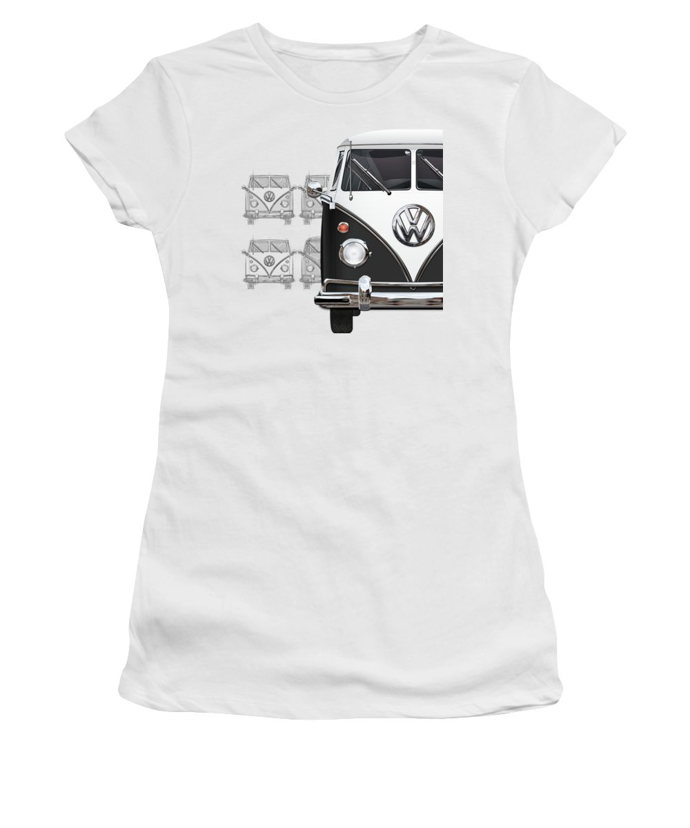 'volkswagen Type 2' Collection By Serge Averbukh Women's T-Shirt featuring the digital art Volkswagen Type 2 - Black and White Volkswagen T1 Samba Bus over Vintage Sketch by Serge Averbukh