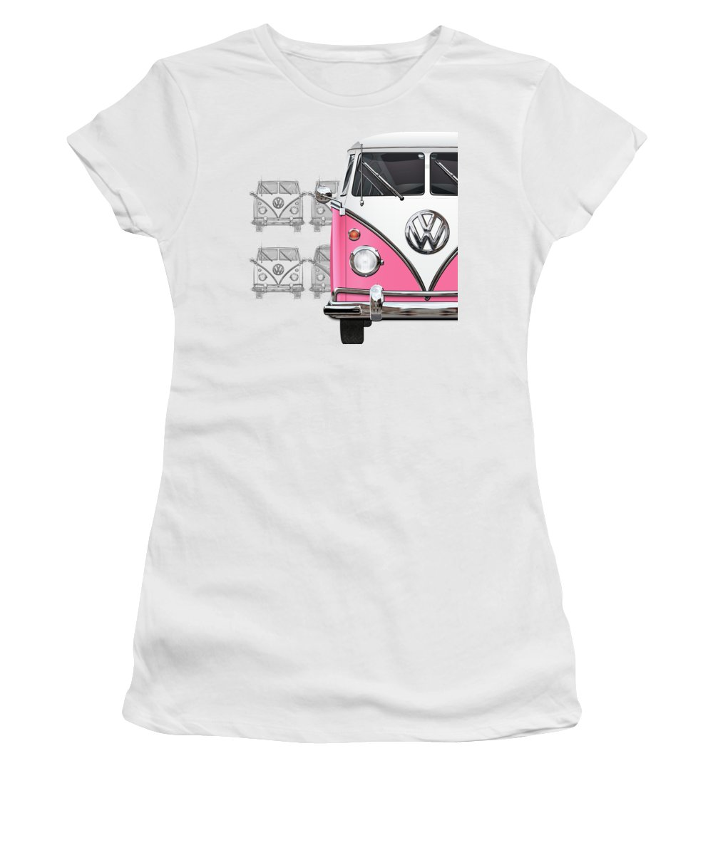 'volkswagen Type 2' Collection By Serge Averbukh Women's T-Shirt featuring the digital art Volkswagen Type 2 - Pink and White Volkswagen T1 Samba Bus over Vintage Sketch by Serge Averbukh
