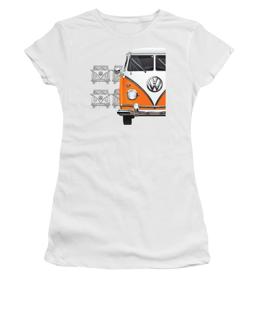 'volkswagen Type 2' Collection By Serge Averbukh Women's T-Shirt featuring the digital art Volkswagen Type - Orange and White Volkswagen T1 Samba Bus over Vintage Sketch by Serge Averbukh