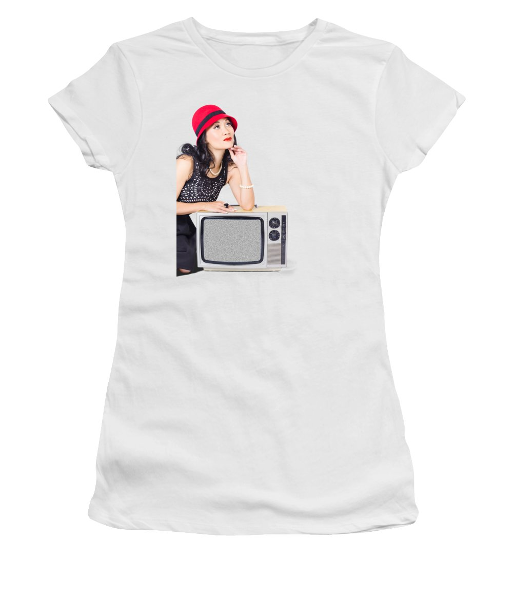 Retro Women's T-Shirt featuring the photograph Woman On Retro Tv. Fifties Copyspace Broadcast by Jorgo Photography - Wall Art Gallery
