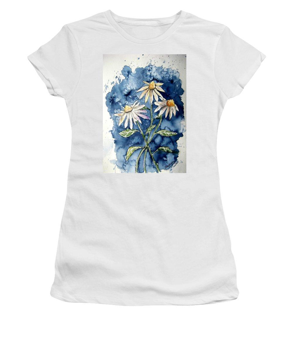 Daisy Women's T-Shirt featuring the painting 3 Daisies Flower Art by Derek Mccrea