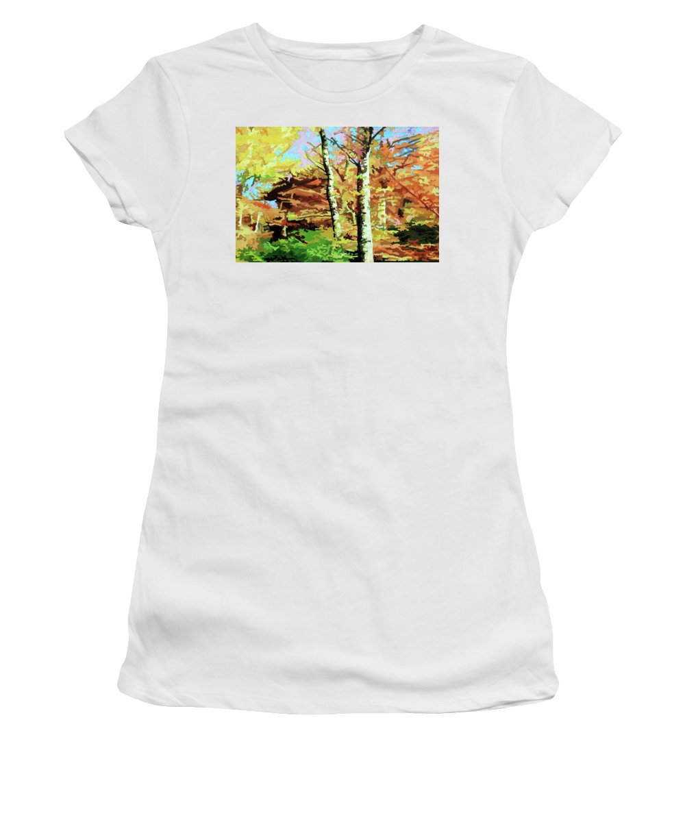 Autumn Women's T-Shirt featuring the painting Autumn's Spectacular Display by John Lautermilch