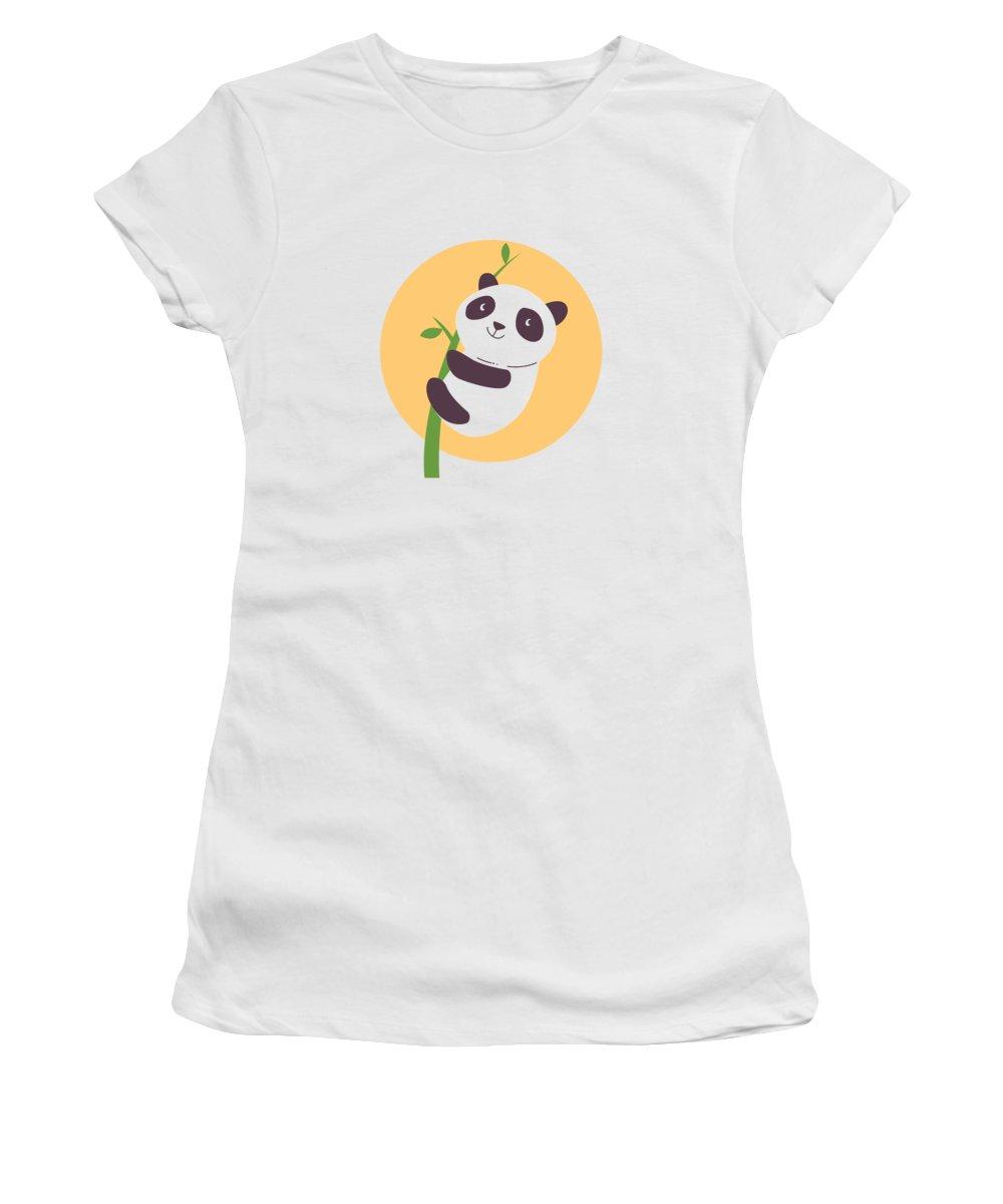 Adorable Women's T-Shirt featuring the digital art Baby Panda Hugging an Eucalyptus Plant by Jacob Zelazny