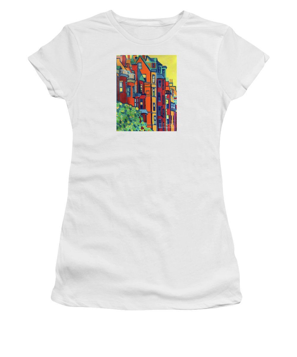 Architecture Women's T-Shirt featuring the painting Beacon Street Back Bay Boston by Debra Bretton Robinson