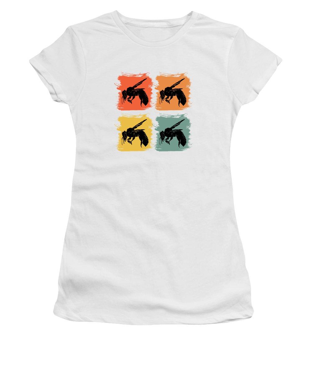 Bee Women's T-Shirt featuring the digital art Bee Wasp Retro Pop Art Gift Idea by J M
