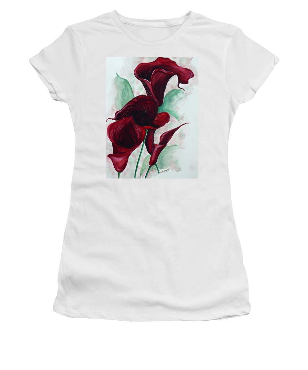 Flower Painting Floral Painting Botanical Painting Tropical Painting Caribbean Painting Calla Painting Red Lily Painting Deep Red Calla Lilies Original Watercolor Painting Women's T-Shirt featuring the painting Black Callas by Karin Dawn Kelshall- Best