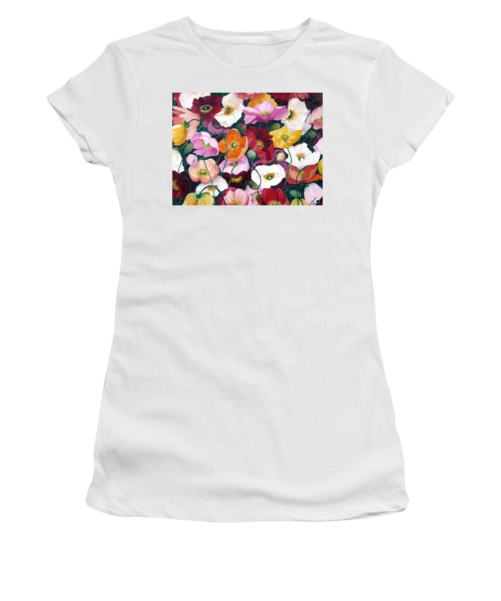 Flower Painting Floral Painting Poppy Painting Icelandic Poppies Painting Botanical Painting Original Oil Paintings Greeting Card Painting Women's T-Shirt featuring the painting Cascade Of Poppies by Karin Dawn Kelshall- Best