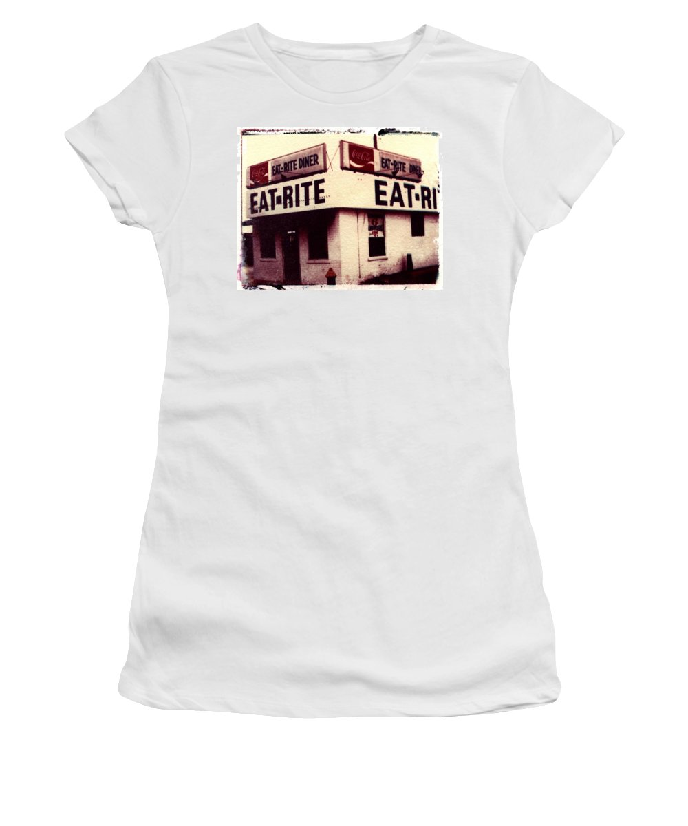Polaroid Transfer Women's T-Shirt featuring the photograph Eat Rite by Jane Linders