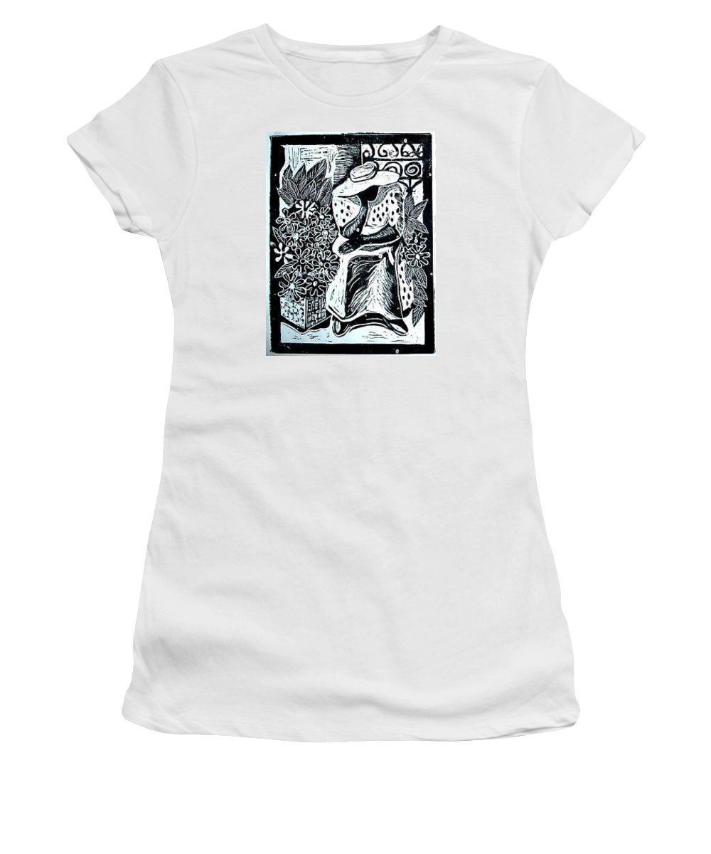 Everett Spruill Women's T-Shirt featuring the painting Flower Vendor by Everett Spruill