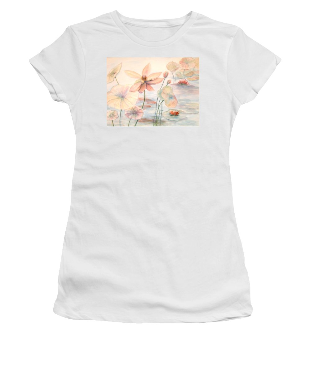 Lily Pads And Lotus Blossoms Women's T-Shirt featuring the painting Lily Pads by Ben Kiger