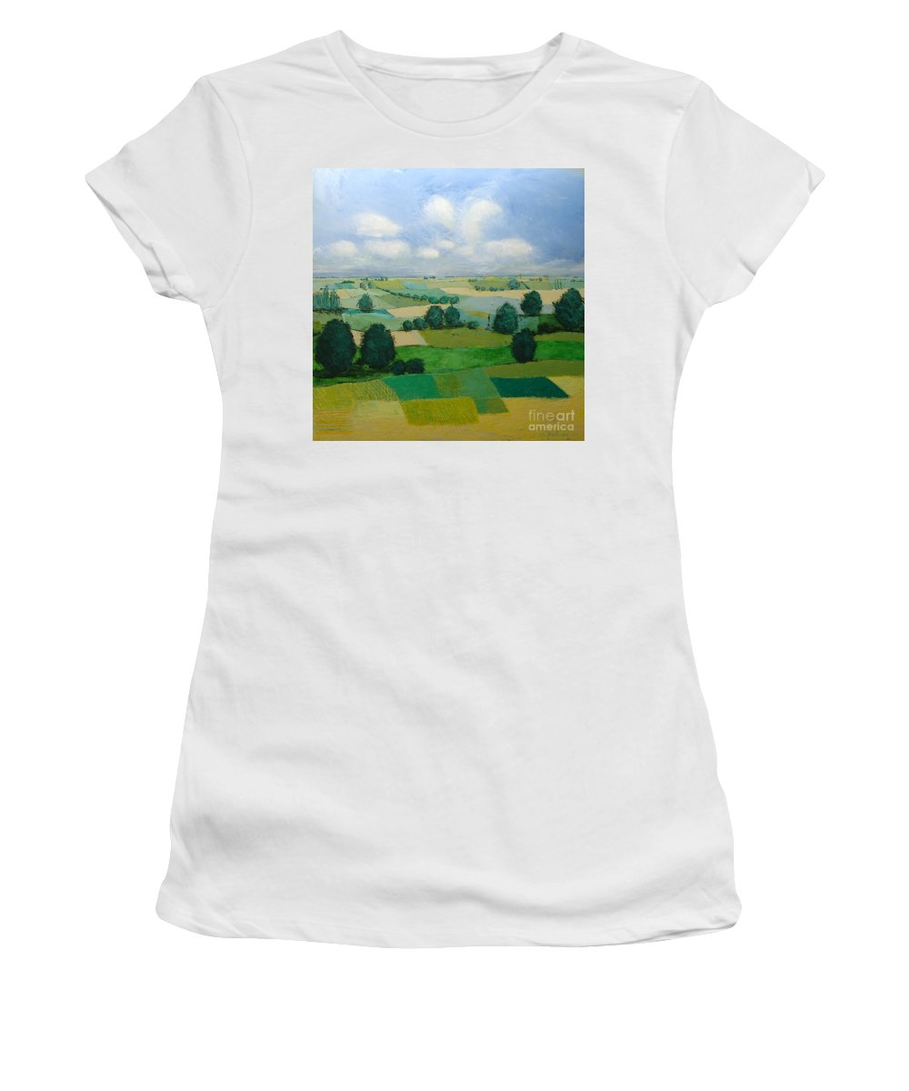 Landscape Women's T-Shirt featuring the painting Morning Calm by Allan P Friedlander