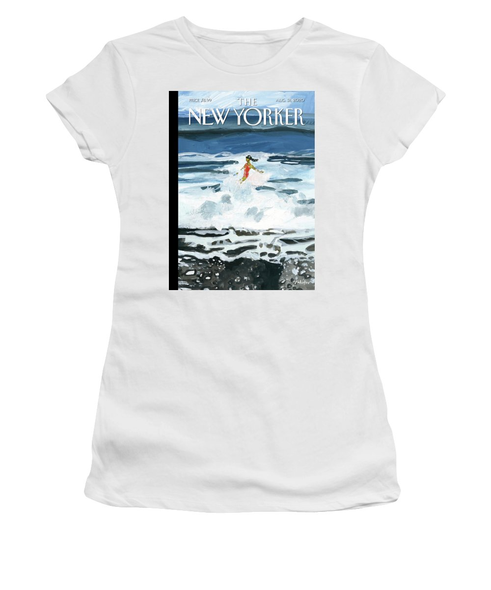 Summer Women's T-Shirt featuring the painting Out Of The Blue by Gayle Kabaker