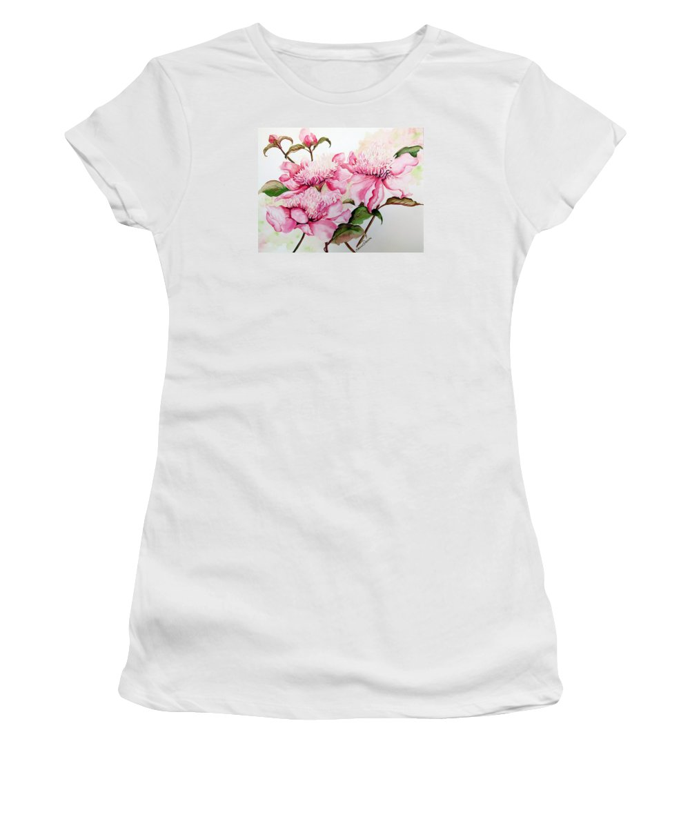 Flower Painting Flora Painting Pink Peonies Painting Botanical Painting Flower Painting Pink Painting Greeting Card Painting Pink Peonies Women's T-Shirt featuring the painting Peonies by Karin Dawn Kelshall- Best