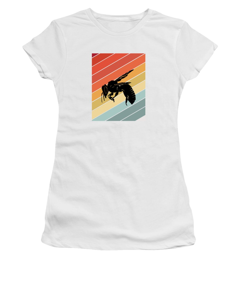Bee Women's T-Shirt featuring the digital art Retro Bee Wasp Insect Gift Idea by J M