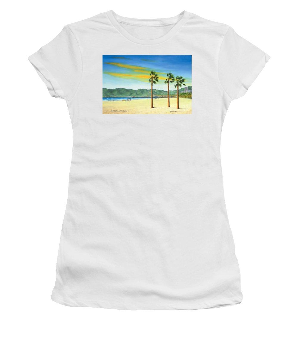 Santa Monica Women's T-Shirt featuring the painting Santa Monica by Jerome Stumphauzer