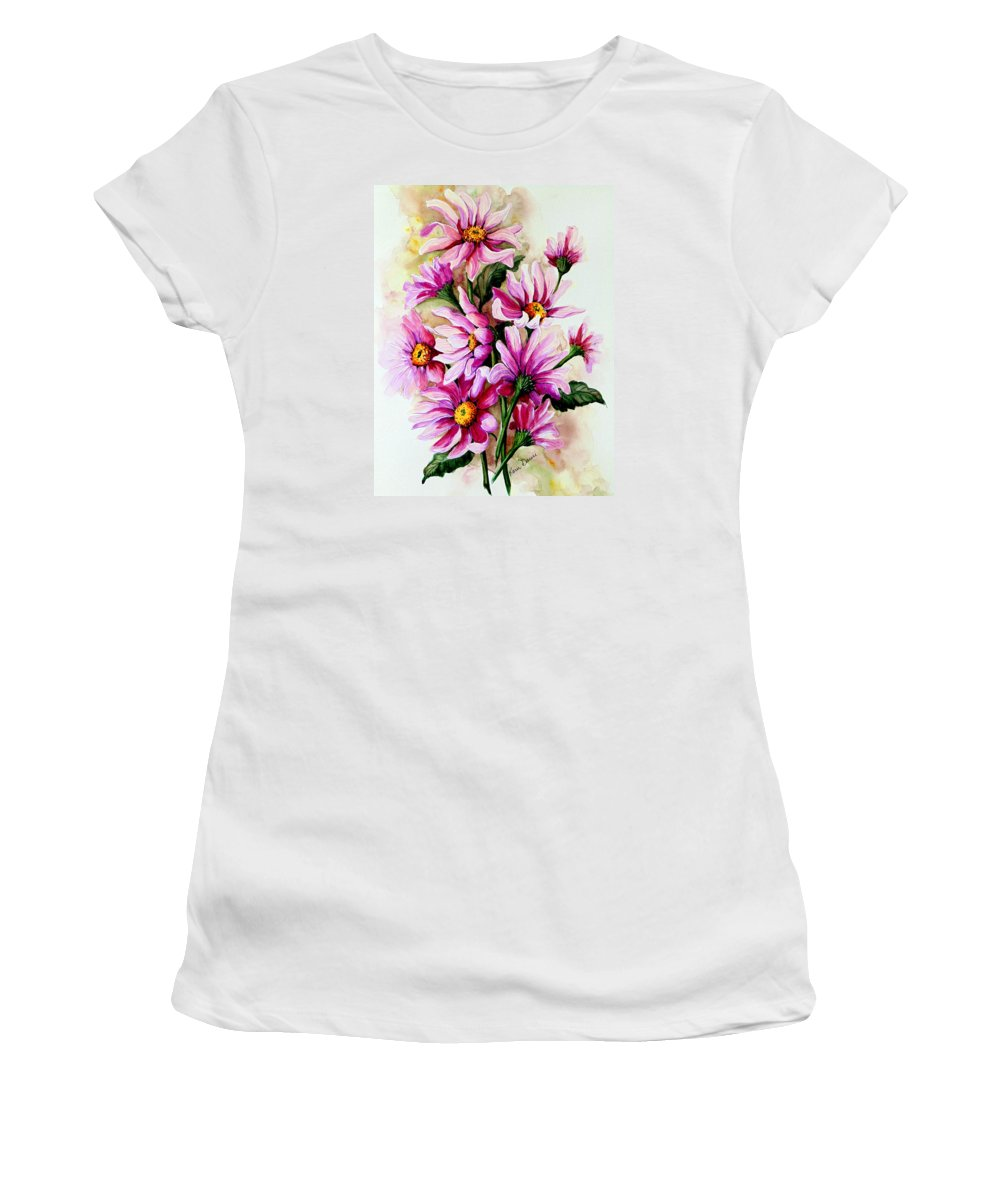 Pink Daisy Floral Painting Flower Painting Botanical Painting Bloom Painting Greeting Card Painting Women's T-Shirt featuring the painting So Pink by Karin Dawn Kelshall- Best