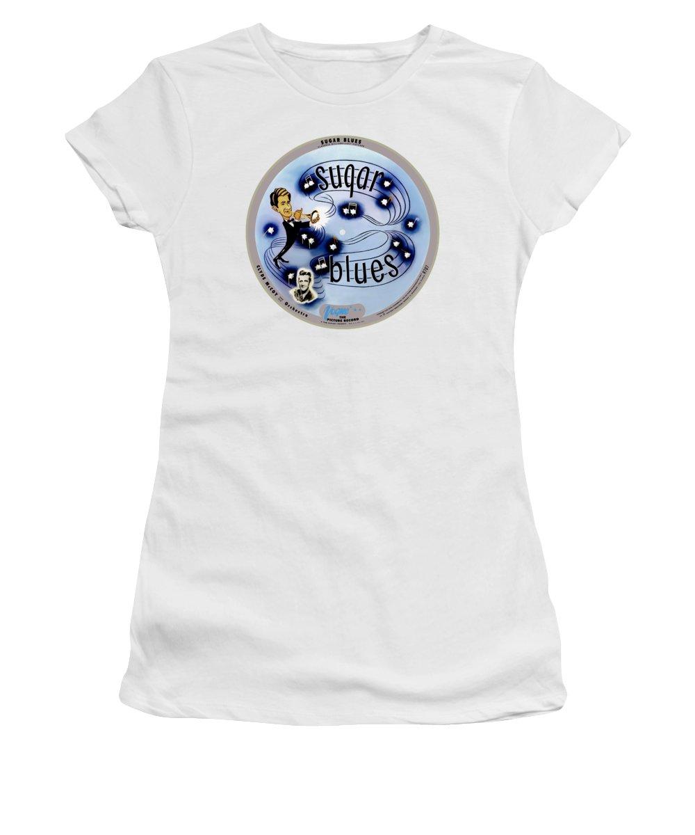 Vogue Picture Record Women's T-Shirt featuring the digital art Vogue Record Art - R 707 - P 5, Blue Logo - Square Version by John Robert Beck