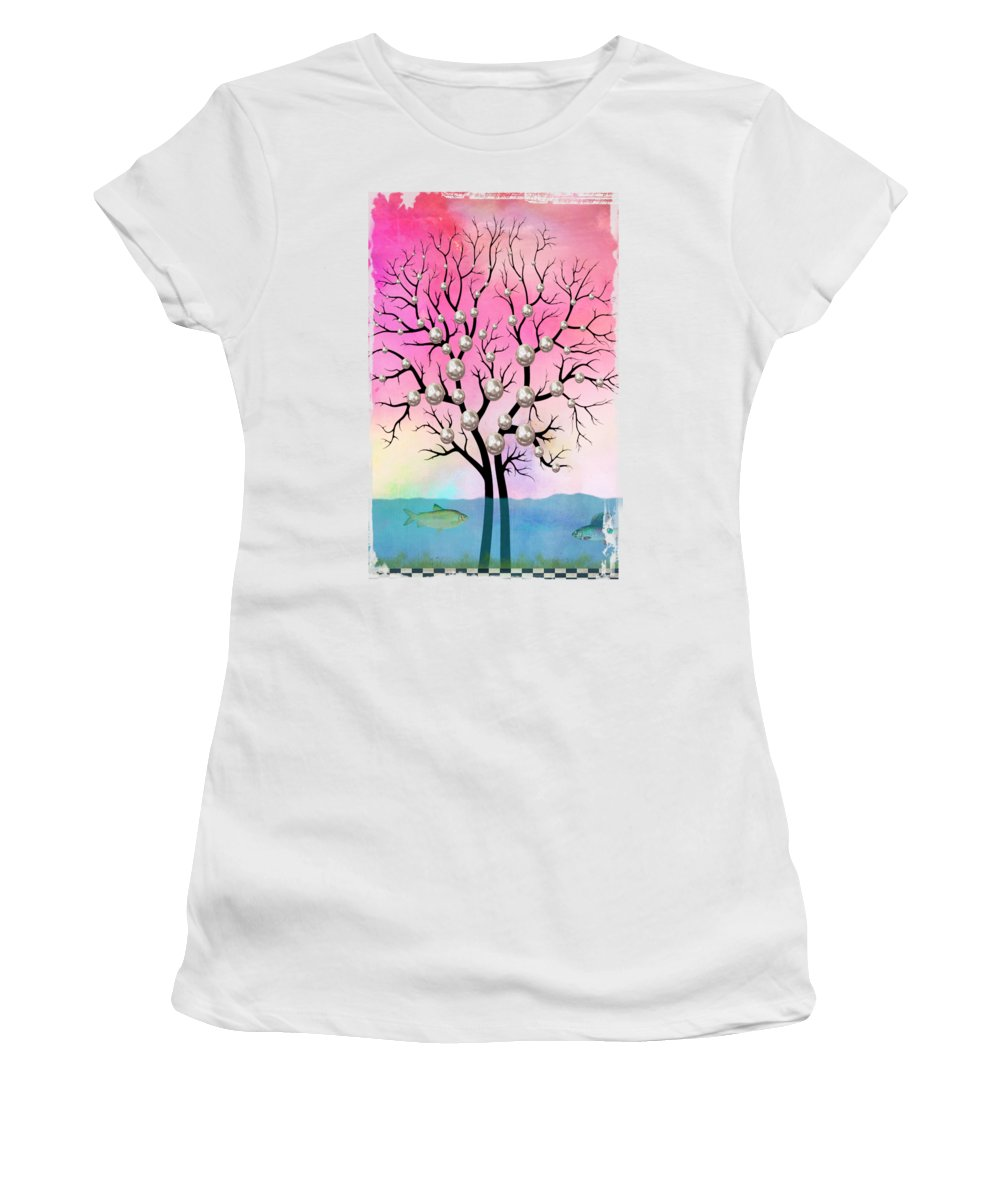 Minimal Women's T-Shirt featuring the digital art Pearls tree by Mark Ashkenazi