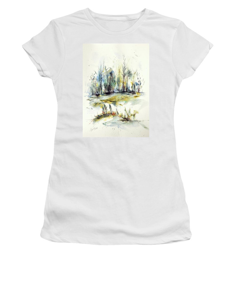 Watercolor Women's T-Shirt featuring the painting Winter trees by Aniko Hencz