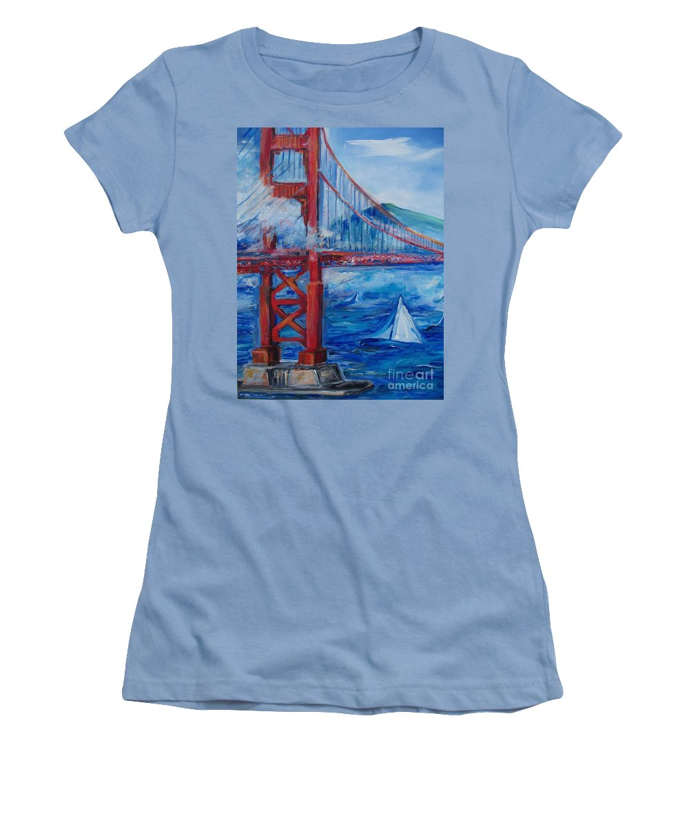 San Francisco Women's T-Shirt (Athletic Fit) featuring the painting San Francisco Golden Gate Bridge by Eric Schiabor