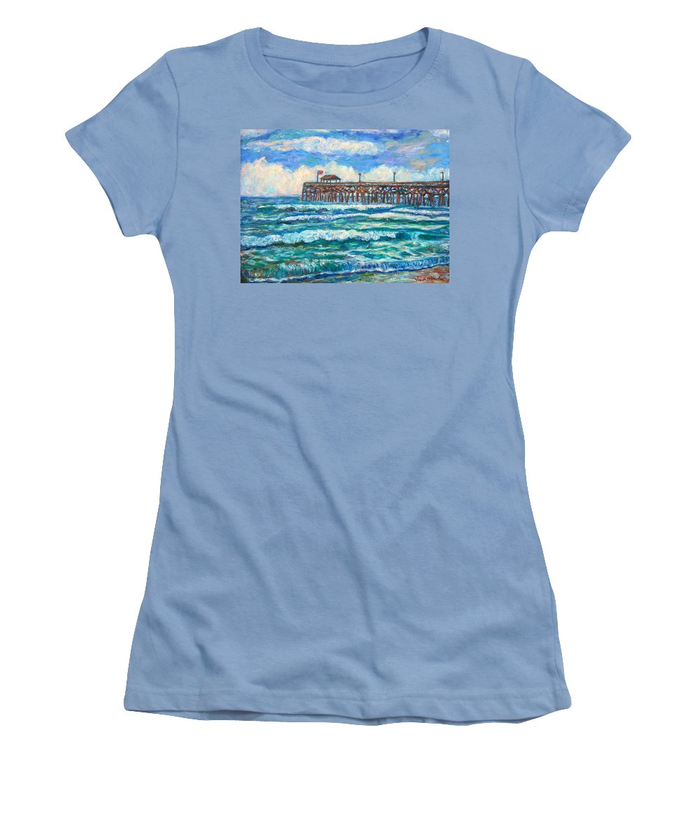Shore Scenes Women's T-Shirt (Athletic Fit) featuring the painting Breakers At Pawleys Island by Kendall Kessler
