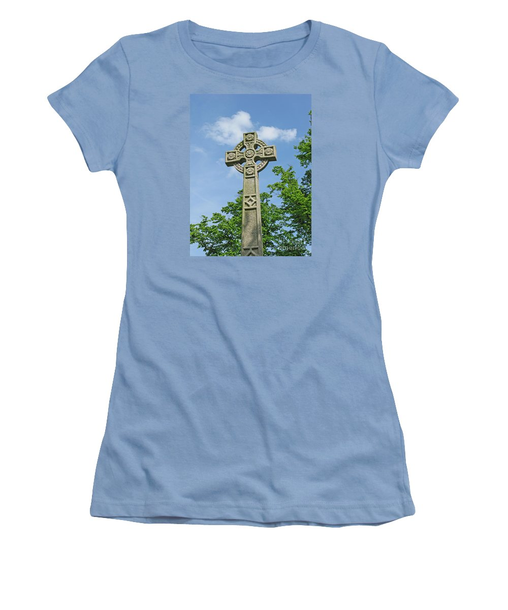 Cross Women's T-Shirt (Athletic Fit) featuring the photograph Celtic Cross by Ann Horn