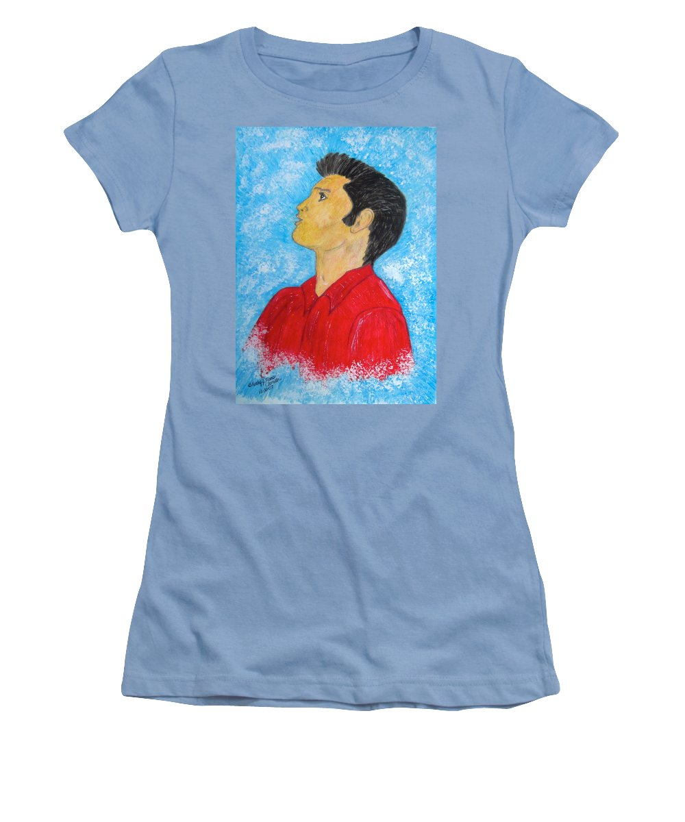 Elvis Presely Women's T-Shirt (Athletic Fit) featuring the painting Elvis Presley Singing by Kathy Marrs Chandler