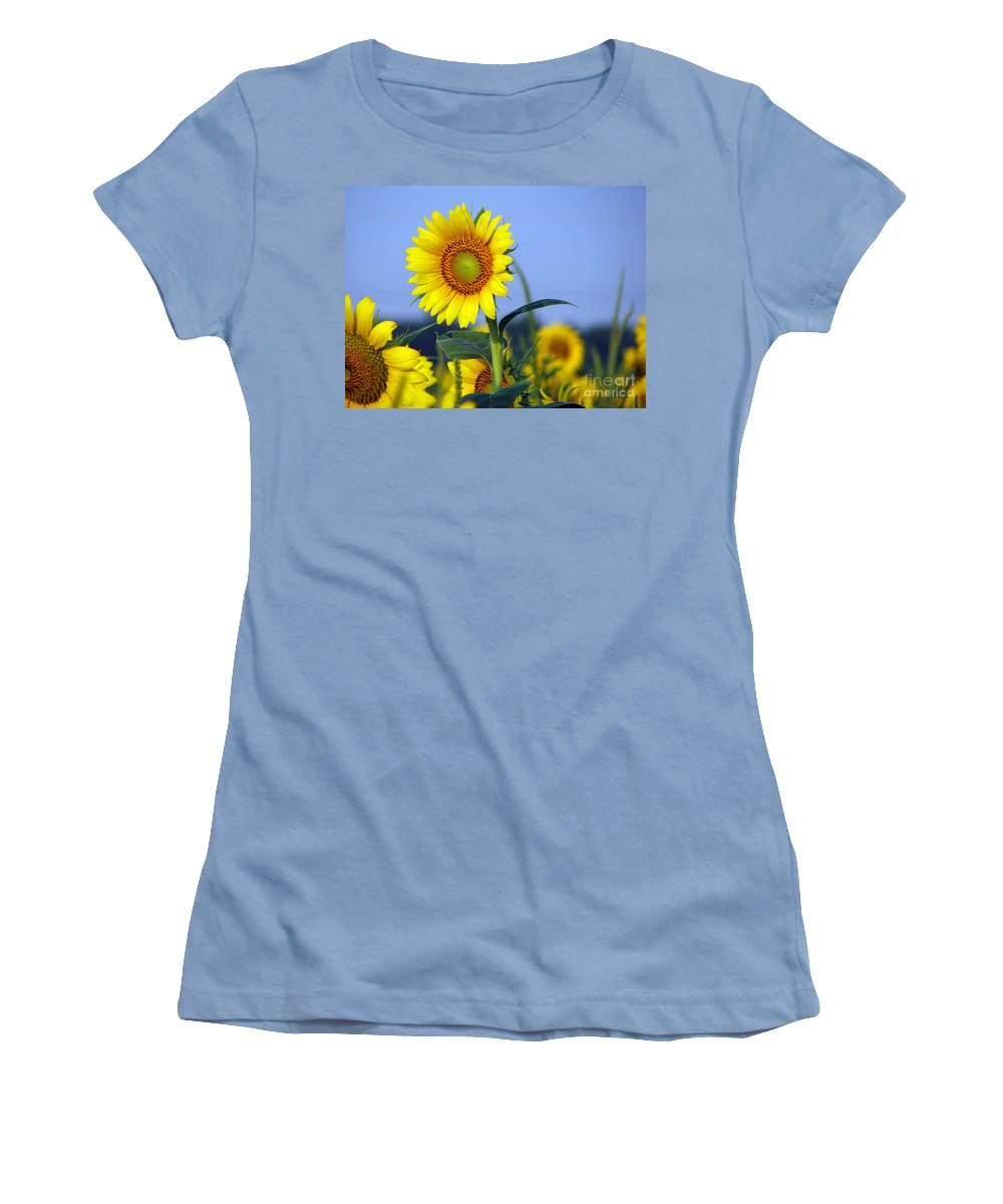 Sunflower Women's T-Shirt (Athletic Fit) featuring the photograph Getting To The Sun by Amanda Barcon