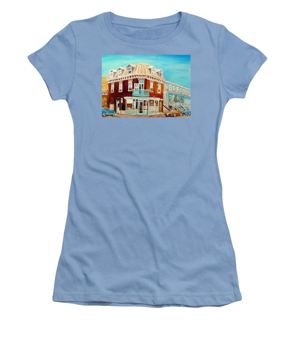 Bakeries Women's T-Shirt (Athletic Fit) featuring the painting Golden Homemade Baked Goods by Carole Spandau